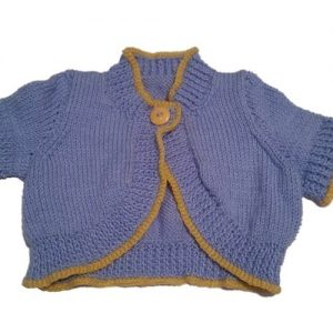 Short Sleeved Blue Cardigan with Yellow Trim