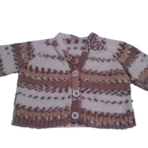 Long Sleeved Brown and White Patterned Cardigan