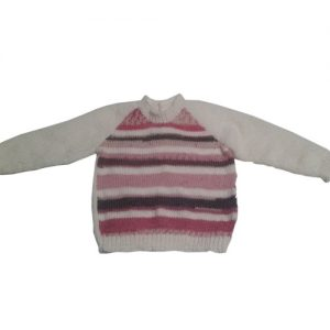 Pink, White and Grey Striped Jumper