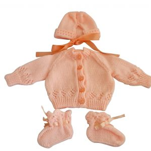 Peach Cardigan Set with Bonnet and Booties