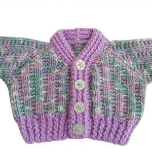 Purple, Green and White Cardigan