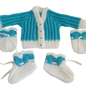 Turquoise and White Cardigan Set with Mittens and Booties
